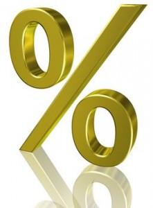 Zu sehen ist ein goldenes Prozentzeichen