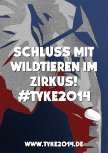 """Bild zur Petition """"Tyke2014"""" - Elefantenkopf mit der Aufschrift """"Schluss mit Wildtieren im Zirkus"""""""